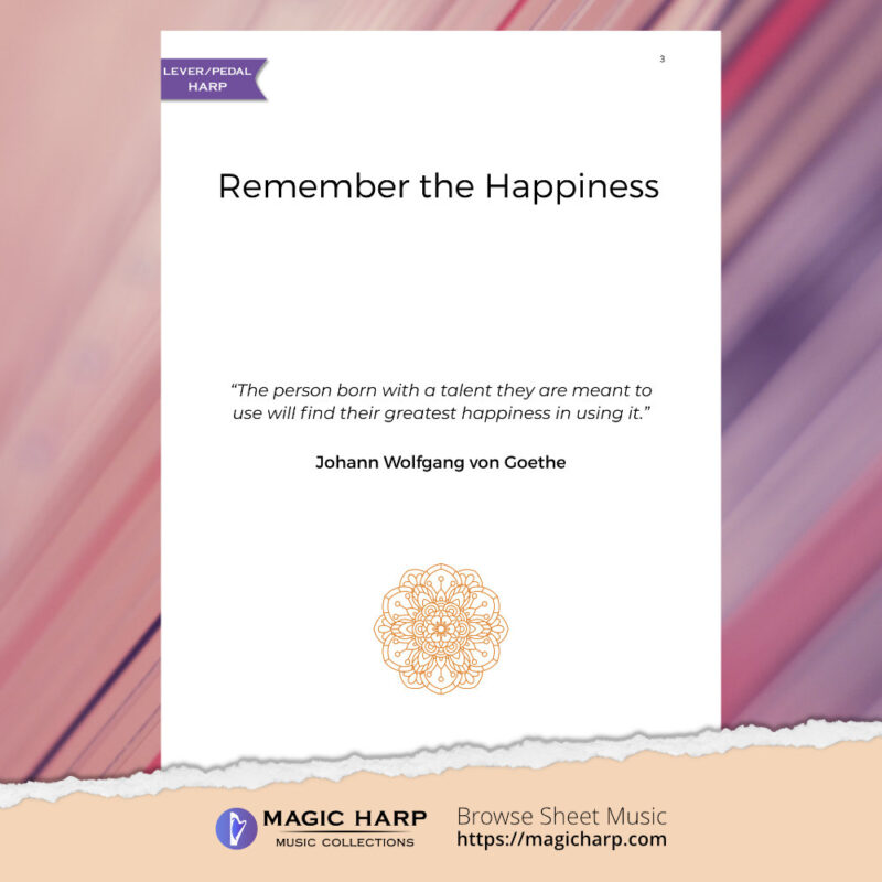 Remember the happiness for harp by Roxana Moișanu • magicharp.com - preview1