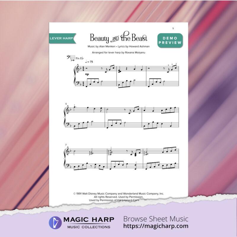 Beauty and the Beast arr for LEVER harp by Roxana Moișanu • magicharp.com_2
