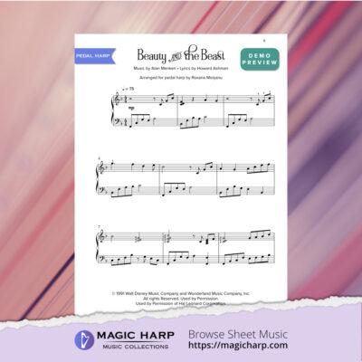 Beauty and the Beast arr for PEDAL harp by Roxana Moișanu • magicharp.com_4