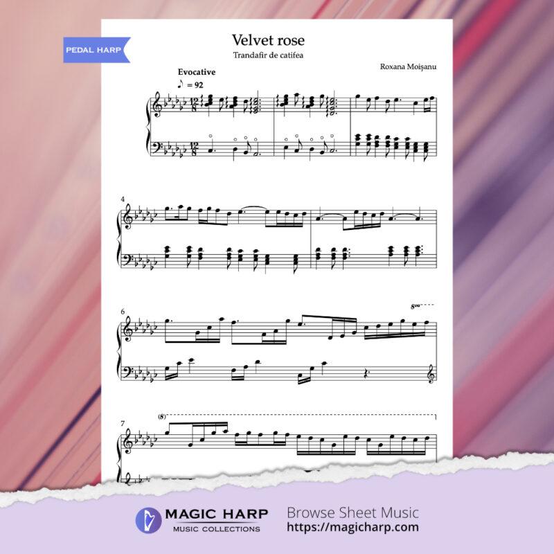 Velvet rose by Roxana Moișanu for pedal harp • magicharp.com-2