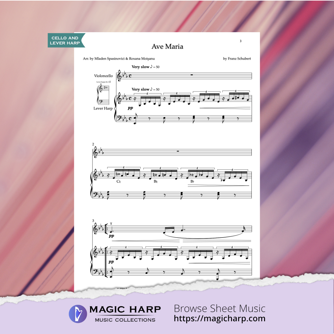Ave Maria for cello and harp arr by Duo CellArpa • magicharp.com - 2