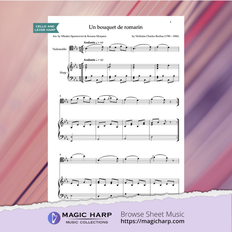 Un bouquet de romarin by C. N. Bochsa for cello and harp arr. by duo CellArpa • magicharp.com - 2