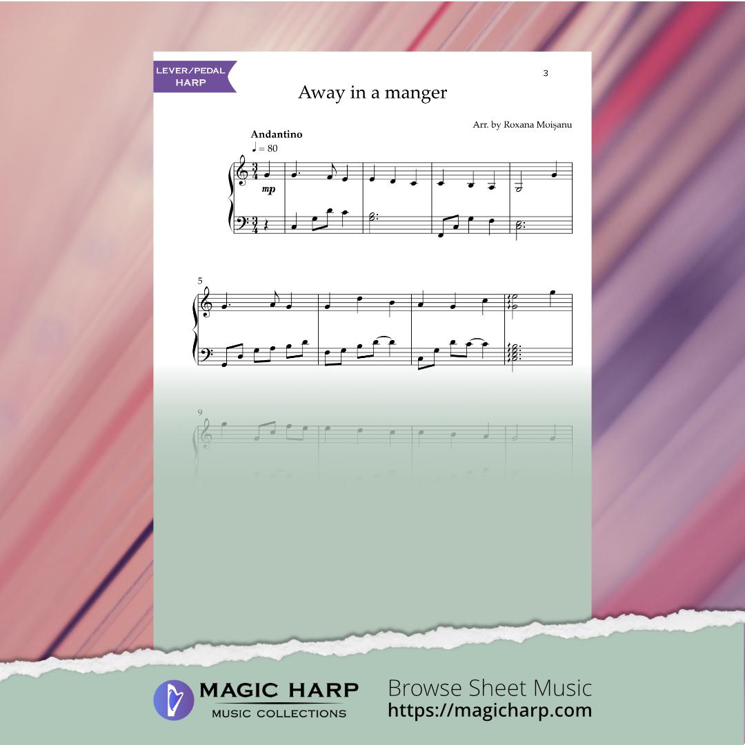 Away in a manger for harp by Roxana Moișanu • magicharp.com - 2