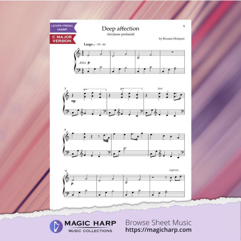 Deep affection (C major) for harp by Roxana Moișanu • magicharp.com - 2