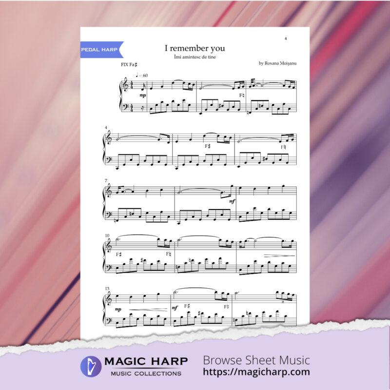 I remember you for harp by Roxana Moișanu • magicharp.com - 3