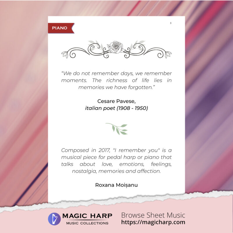 I remember you for piano by Roxana Moișanu • magicharp.com - 2