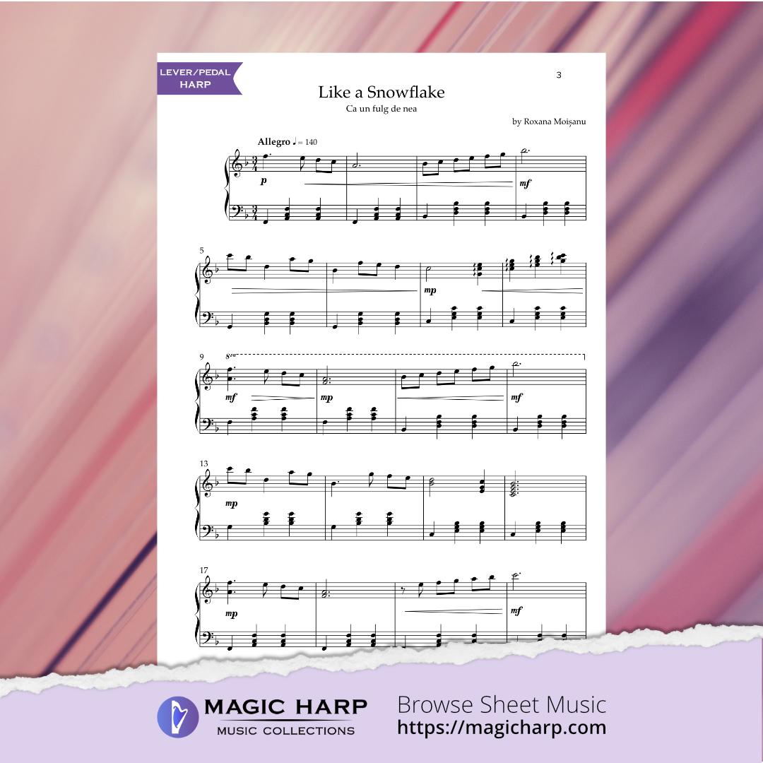 Like a snowflake for harp by Roxana Moișanu • magicharp.com - 2