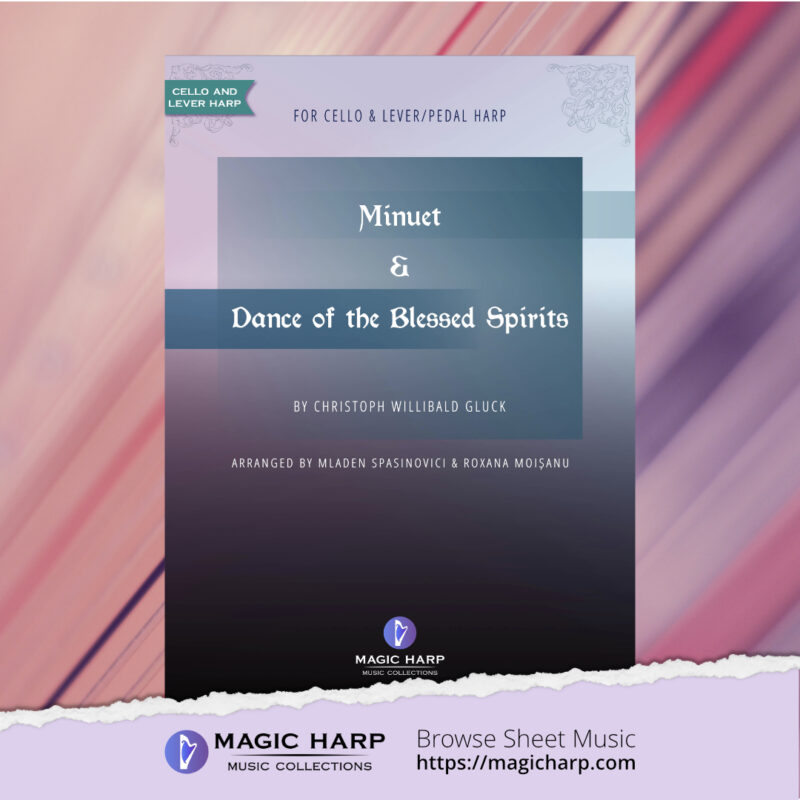 Minuet and Dance of the blessed spirits by Gluck for cello and lever harp • magicharp.com - 1