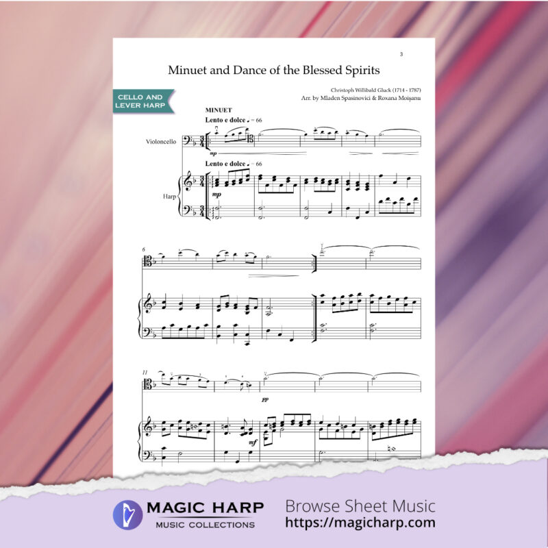 Minuet and Dance of the blessed spirits by Gluck for cello and lever harp • magicharp.com - 2