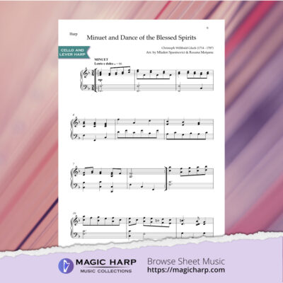 Minuet and Dance of the blessed spirits by Gluck for cello and lever harp • magicharp.com - 4